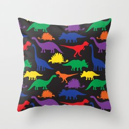 Dinosaurs - Black Throw Pillow