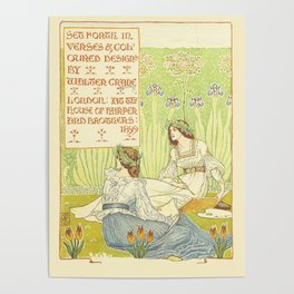 """Title Page II Walter Crane 1899 Illustration from """"A Floral Fantasy In an Old English Garden"""" Poster"""