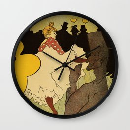 Paris nightlife 1891 Toulouse Lautrec Wall Clock