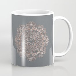 Mandala Rose Gold Pink Shimmer on Soft Gray by Nature Magick Coffee Mug