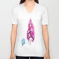 virgo V-neck T-shirts featuring Virgo by Aloke Design