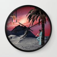 chill Wall Clocks featuring Chill by Nope