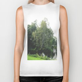 Large white birch on the shore of a reservoir with a dangling leaf crone Biker Tank