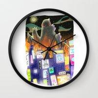 godzilla Wall Clocks featuring Godzilla by David Pavon