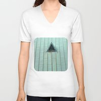 copper V-neck T-shirts featuring Copper Roof  by Ethna Gillespie