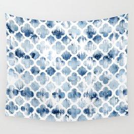 Modern navy blue tie dye hand painted watercolor geometric quatrefoil pattern Wall Tapestry