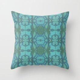 Evergreen and Aqua Nouveau Pattern Throw Pillow
