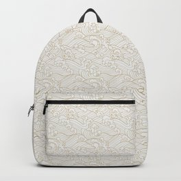 Golden Waves in White Backpack