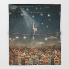 Illustration of  cute houses and  pretty girl   in night sky Throw Blanket