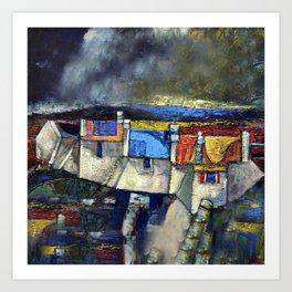 coastal Village,Ireland(acrylic on canvass). Art Print