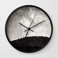 starry night Wall Clocks featuring Starry Night  by Laura Ruth