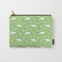 Wild African walking lioness silhouettes and abstract triangle shapes. Stylish classy bright olive green seamless retro vintage geometric animal nature pattern. Carry-All Pouch