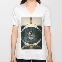 astronaut V-neck T-shirts featuring astronaut by Shawn Tegtmeier