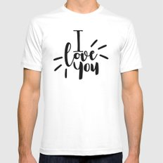 I Love You | Black And White Typography White MEDIUM Mens Fitted Tee