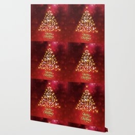 Merry Christmas Sparkling Christmas Tree Red Gold Wallpaper