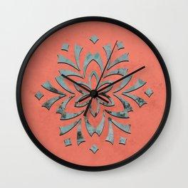 Geometric metallic flower coral grey Wall Clock