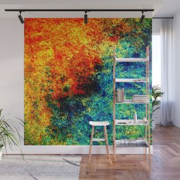 Abstract painting orange blue Wall Mural