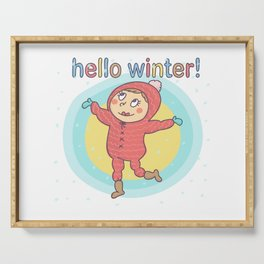 Hello Winter Girl Serving Tray