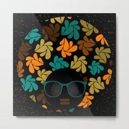 Afro Diva: Fall Colors Brown Gold Teal Metal Print
