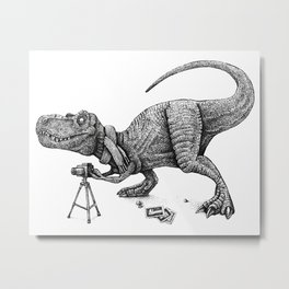 T-Rex Filmmaker | Black and White Metal Print