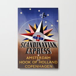 Scandinavian Express Vintage Travel Poster Metal Print