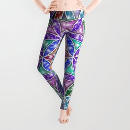 Flower of Life - Colorful Galaxy Leggings