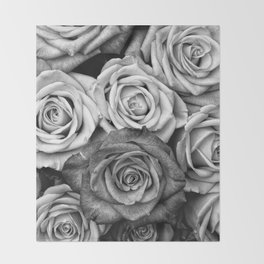 The Roses (Black and White) Throw Blanket