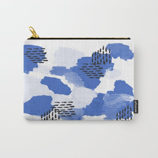 Painted blue abstract monochromatic minimal modern art painting dorm college gender neutral design Carry-All Pouch