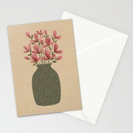 Pink floral bouquet in  textured green vase with linen background simple minimalistic illustration Stationery Cards
