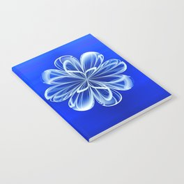 White Bloom on Blue Notebook