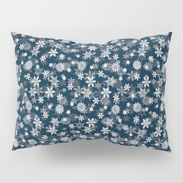 Festive Midnight Blue and White Christmas Holiday Snowflakes Pillow Sham