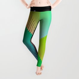 RGB (red gren blue) pixel grid planes crossing at right angles Leggings
