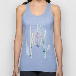 Minimalist Cactus Drawing Watercolor Painting Turquoise Cacti Unisex Tank Top