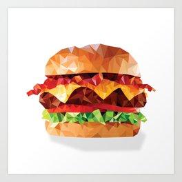 Geometric Bacon Cheeseburger Art Print