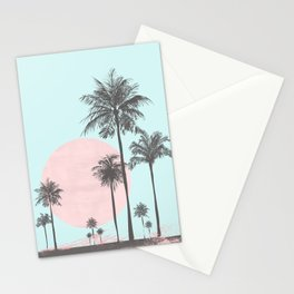 Beachfront palm tree soft pastel sunset graphic Stationery Cards
