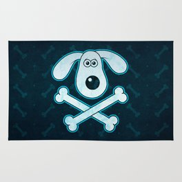 Dog Cartoon Blue Rain Bones Background Rug