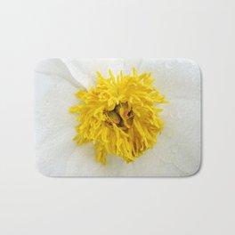 White Krinkled Peony Up Close Bath Mat