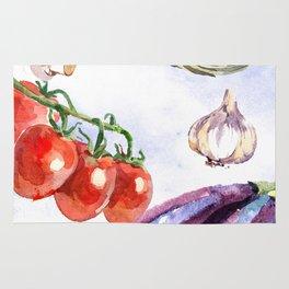 Vegetables in Watercolor Rug