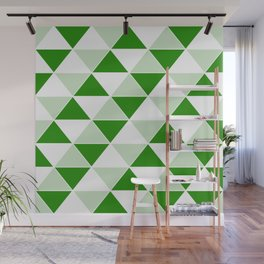 Abstract Triangles pattern - green and white. Wall Mural