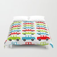 cars Duvet Covers featuring cars by laura mendoza v.