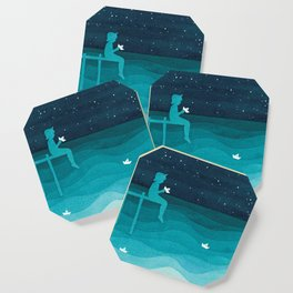 Boy with paper boats, watercolor teal art Coaster