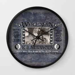 Wolfman K-9 Services Metal Sign Wall Clock