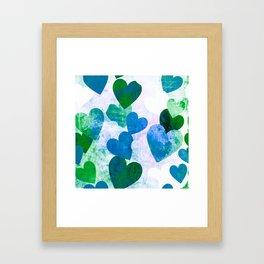 Fab Green & Blue Grungy Hearts Design Framed Art Print