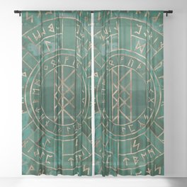 Web of Wyrd - Malachite, Leather and Golden texture Sheer Curtain