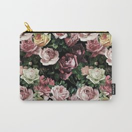 Vintage & Shabby chic - dark retro floral roses pattern Carry-All Pouch