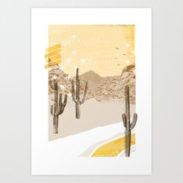 Desert Mountain - Yellow Art Print
