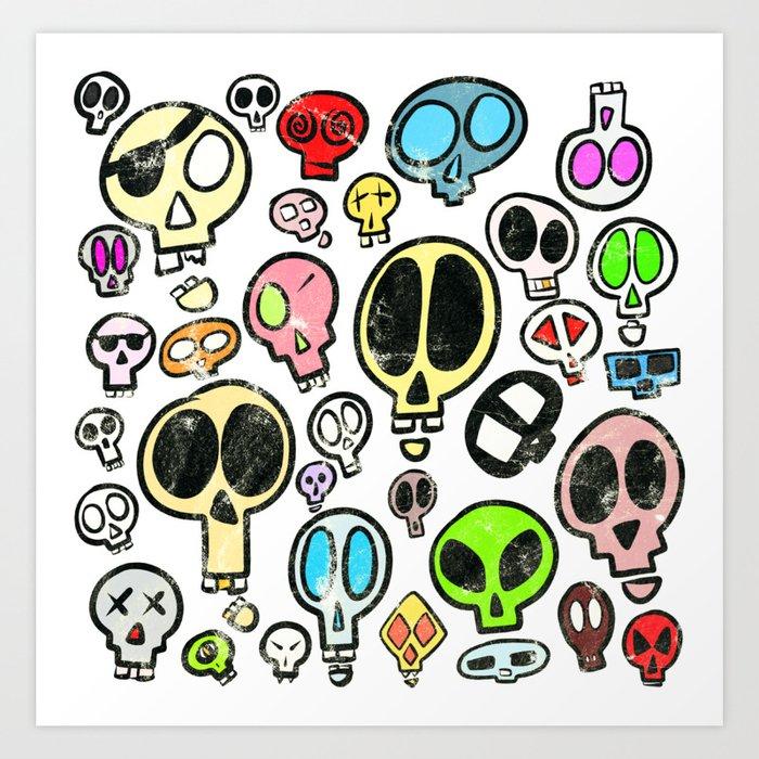Collection of Colourful Cartoon Skulls Art Print
