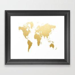 Gold Map Print Framed Art Print