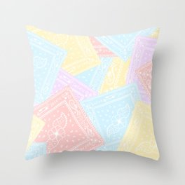 90s Rainbow Pastel Bandanas Throw Pillow