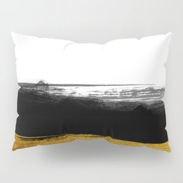 Black and Gold grunge stripes on clear white background - Stripe - Striped Pillow Sham